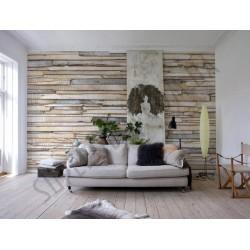 На фото Интерьер обоев 368x254 из 8 частей Деревянные доски Komar